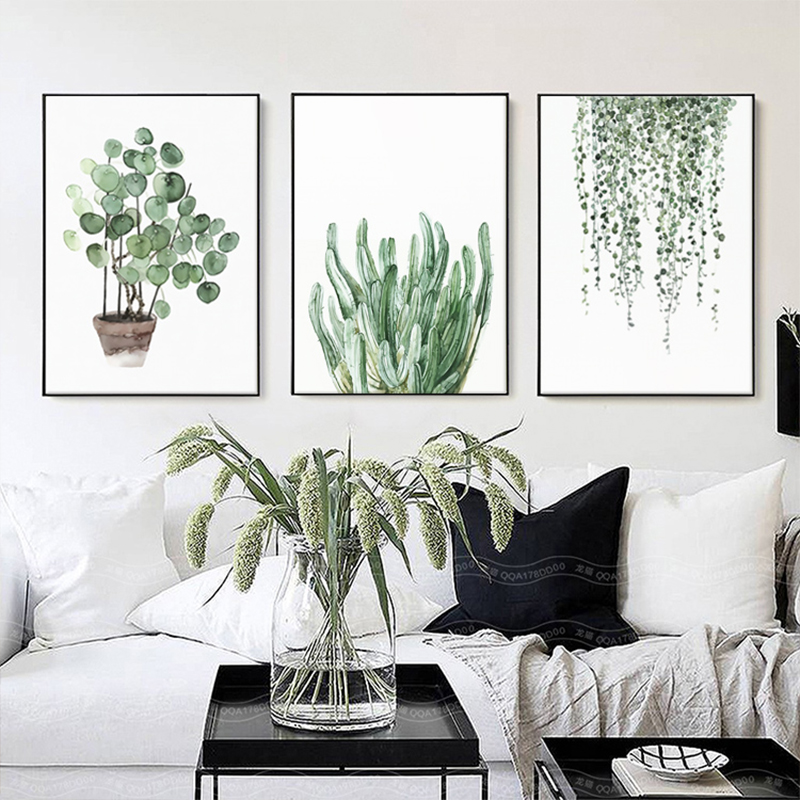 H02f3777422c24bcb9a91f83c10b92420s ART ZONE Tropical Plant Leaves Canvas Art Print Poster Nordic Green Plant Wall Pictures Kids Room Large Painting No Frame