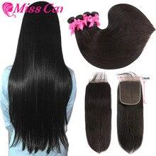 Peruanische Gerade Haar Bundles Mit 5x5 Verschluss 100% Menschenhaar 3/4 Bundles Mit Verschluss Verpassen Cara Remy Haar bundlesWith Verschluss