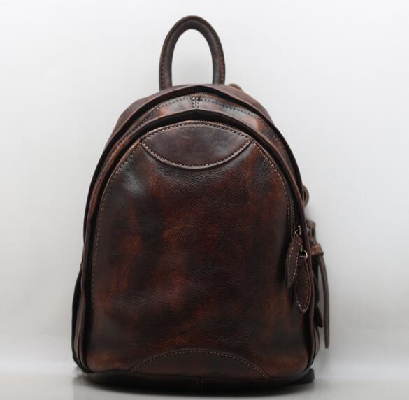 2018 Vintage Genuine Leather School Backpack Bag Small Leisure Bag For Women High Quality