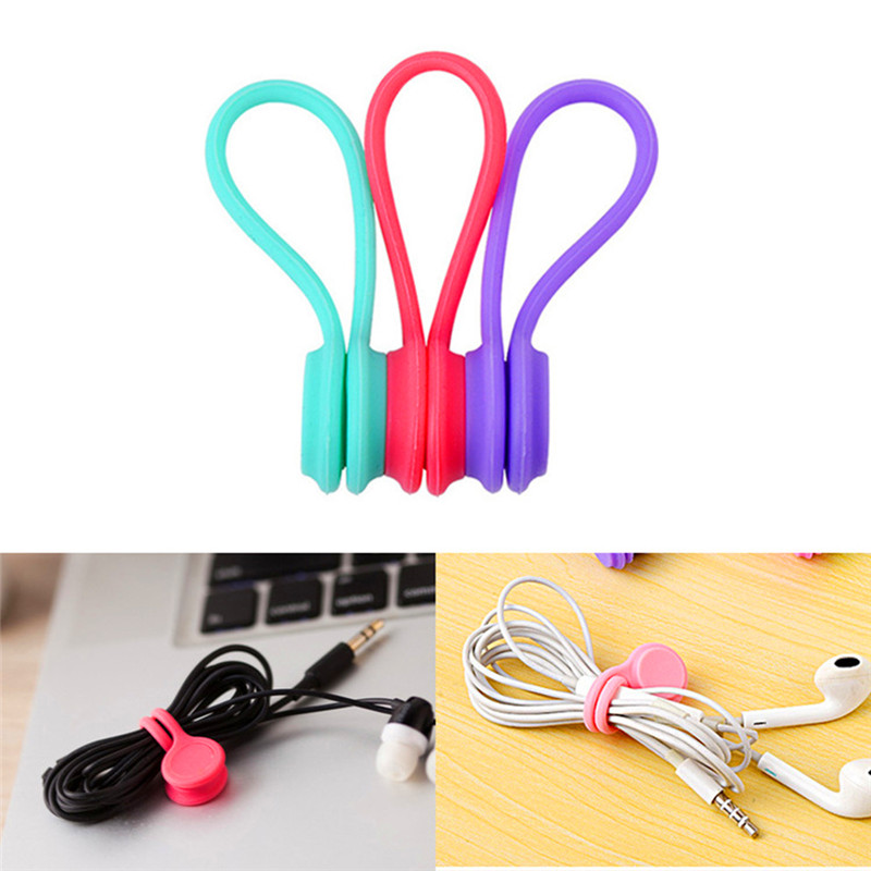 3pcs Cable Organizer Soft <font><b>Silicone</b></font> Magnetic Cable Winder Cord <font><b>Earphone</b></font> Storage <font><b>Holder</b></font> Clips Cable Winder For <font><b>Earphone</b></font> Data Cable image