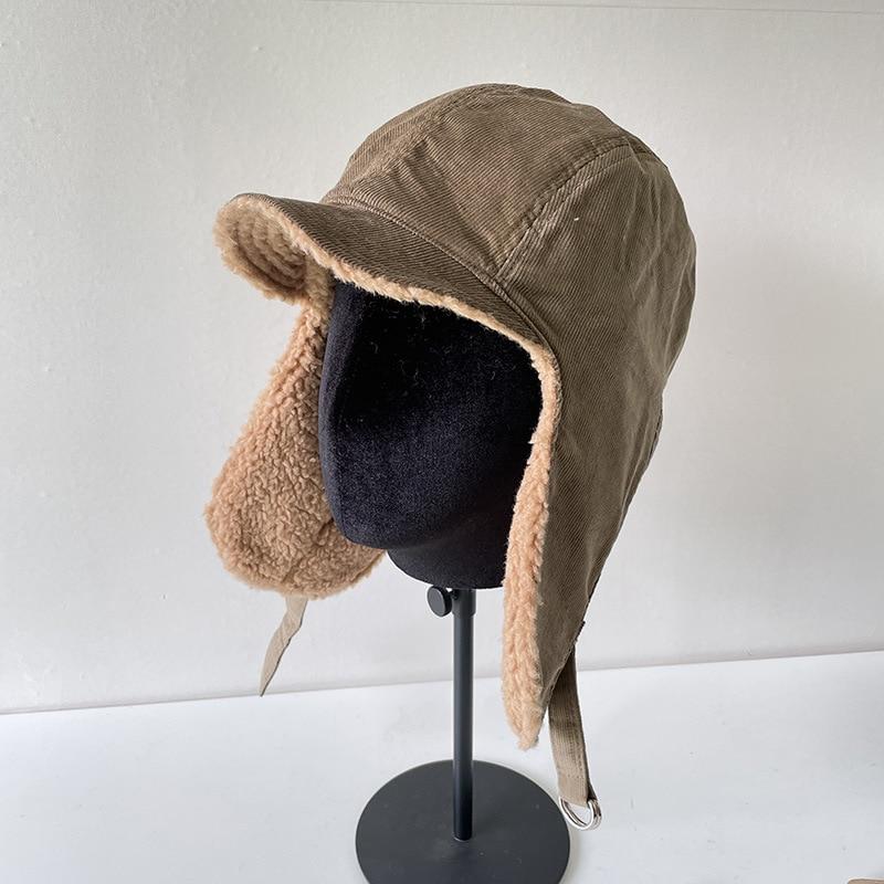 Unisex Men Women Ear Protection Cap Trapper Bomber Warm Trooper Ear Flaps Winter Ski Hat Solid Fluffy Faux Fur Cap Bonnet Hats