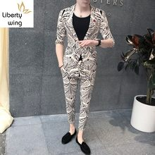 New Mens 3pcs Set Floral Printed Half Sleeve Blazer Coat Skinny Pants Slim Fit Casual Suit Night Club Male Outfits Matching(China)