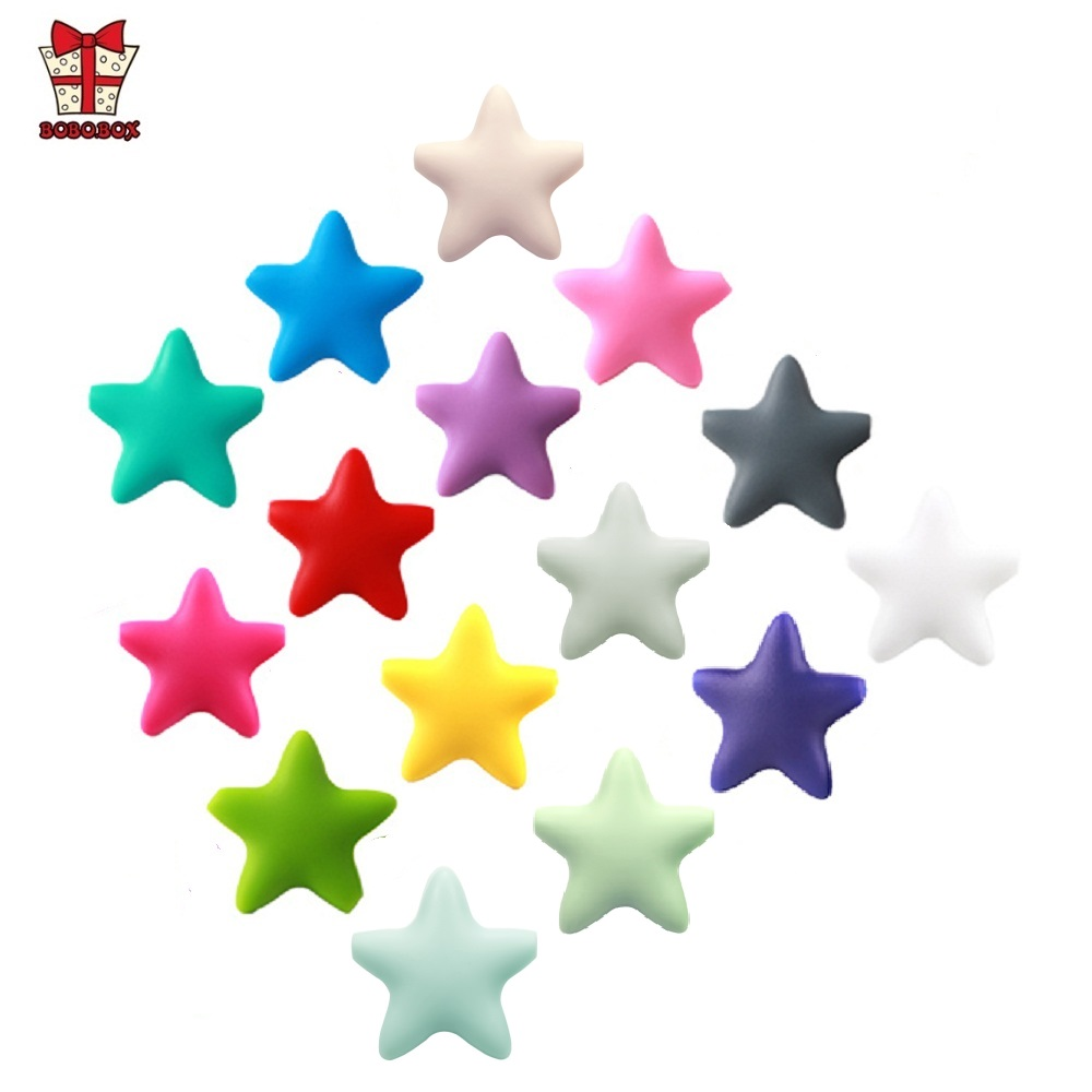 BOBO.BOX 10 Pcs Star Silicone Beads Baby Teething BPA Free Silicone Teething Beads Food Grade Baby Chew Teething Necklace DIY