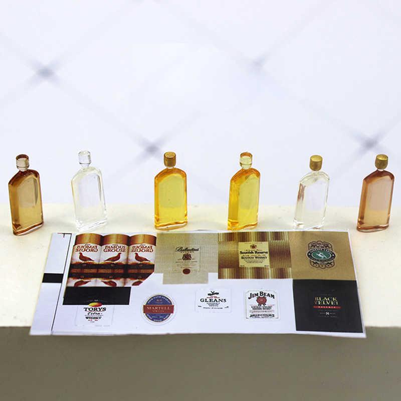 1:12 skala Dollhouse miniaturowe Whisky szampana wina pić butelki Model kuchnia udawaj zagraj lalki zabawki w kształcie jedzenia lalki dekoracje