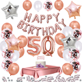 35pcs/set Rose Gold 50 Birthday Decoration Party Tablecloth Balloon 50 Years Anniversary Happy Birthday Rose Gold Decor Supplies