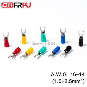 100Pcs SV series Fork Insulated Electrical Wire Crimp Terminals A.W.G 16-14 spade terminals Crimp Wire Connectors