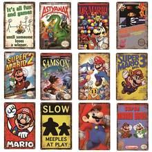Aviso jogos de vídeo angry games decoração cartaz de metal super mario série vintage estanho placa de jogo