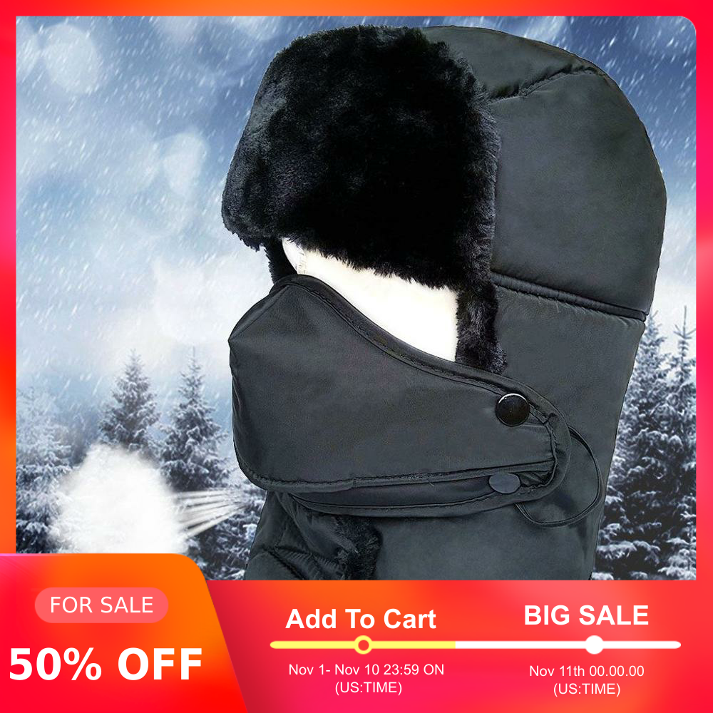 Outdoor Earflap Bomber Hats For Men Winter Trapper Ushanka Hat Unisex Faux Fur Waterproof Hunting Hat With Breathable Mask