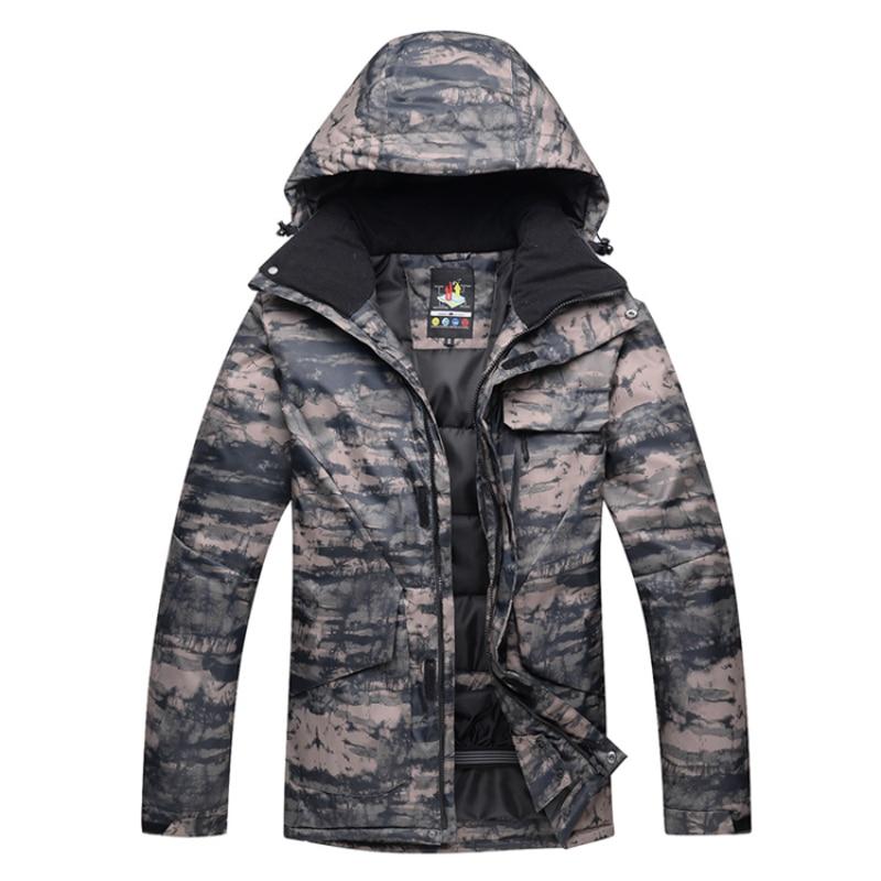 Winter Men Ski Jackets Outdoor Warm Windproof Sports Snow Jackets Male Thermal Ski Coat Snowboarding Hiking Hooded Collar Jacket
