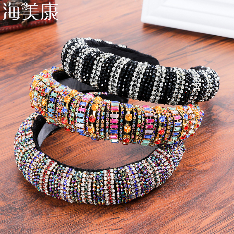 Haimeikang Thick Sponge Velvet Hairbands Luxury Colored Rhinestones Wild Gorgeous Headband Bride Fashion Hair Bands Accessories