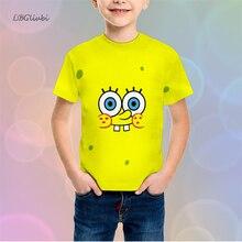 LBG new SpongeBob cartoon childrens t-shirt 3D printing fashion short sleeve