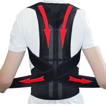 Straight Back Support Belt Back Waist Posture Corrector Adjustable Adult Correction Belt Waist Trainer Shoulder Lumbar Brace ms belt between the waist dish of lumbar tractor pneumatic tensile male outstanding household waist support lumbago