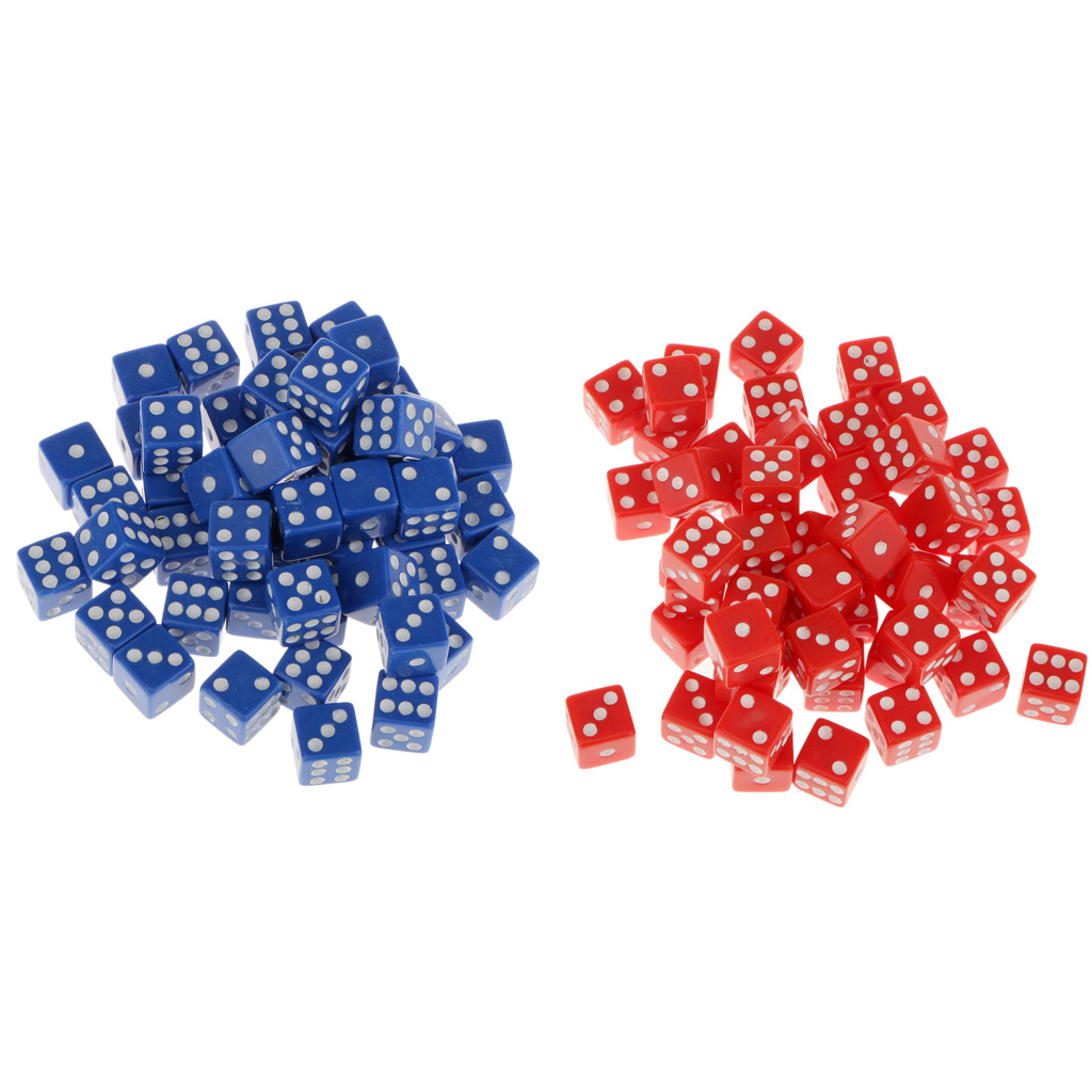 100Pc 12mm Six Sided D6 Dice Acrylic Spotted for Dungeons & Dragons Red&Blue