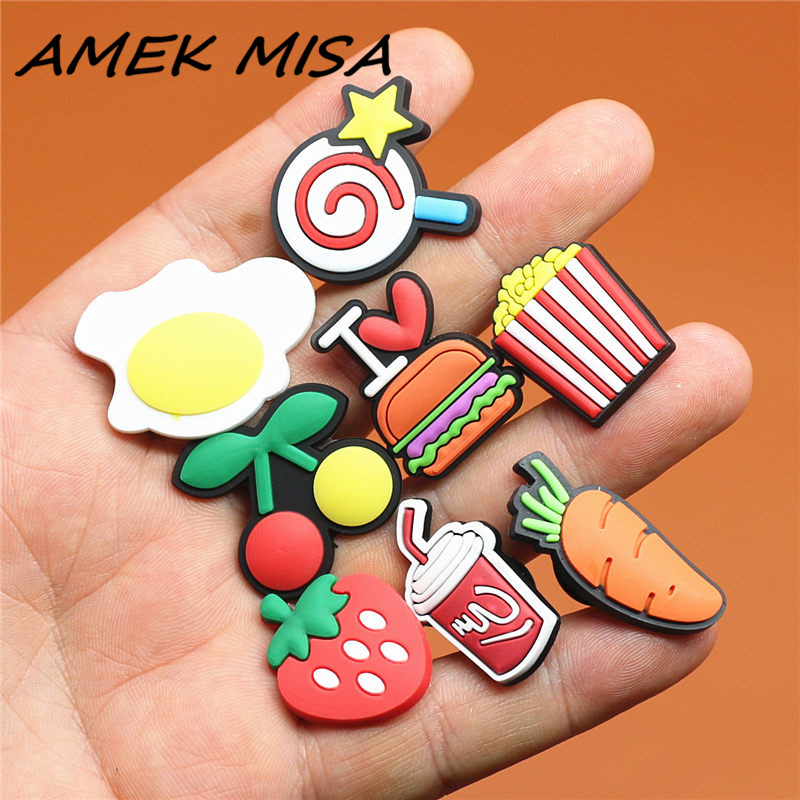 Single Sale 1pcs Food Series Shoe Charms Carrot Shoe Buckle Accessories Pineapple Shoe Decorations Fit Croc JIBZ Kid's X-mas U36