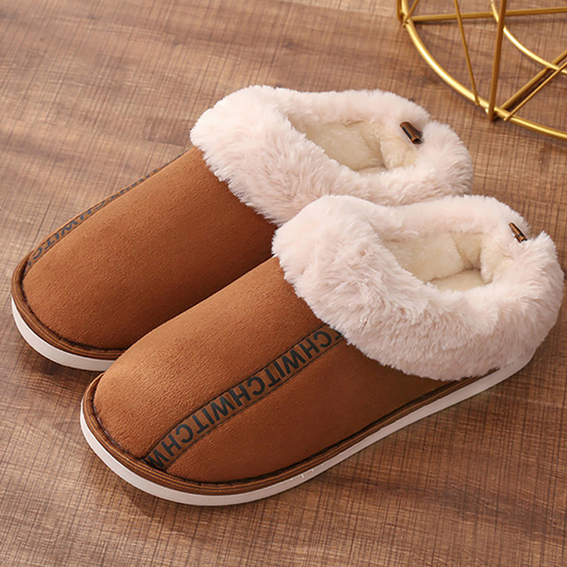 Women's Slippers Winter Warm Short Plush Indoor Slippers Large Size 42-44 Non Slip Waterproof Platform Slippers