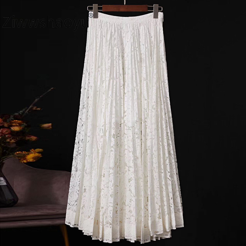 Ziwwshaoyu 2020 Spring New Runway Women's Skirt Lace Fabric Cotton Lining Fashion Leisure Pleated Midi Skirt