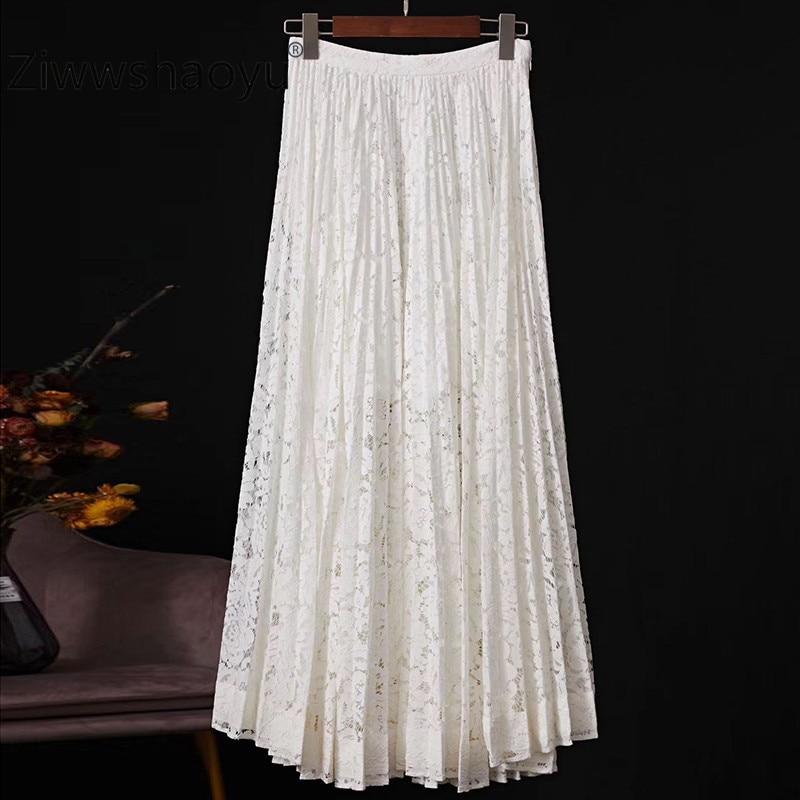 Ziwwshaoyu 2020 Spring New Runway Women's Skirt Lace Fabric Cotton Lining Fashion Leisure Pleated Midi Skirt
