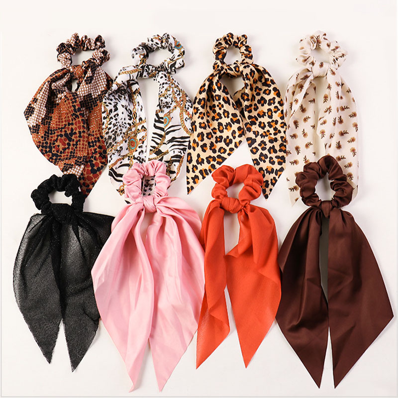 Leopard Snake Floral Print Scrunchies Elastic Hair Scarf Bow Streamers Hair Ties For Girls Hair Accessories Women Ribbon Bands