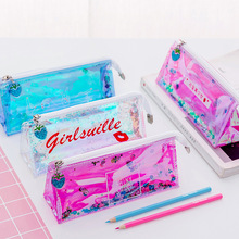 Laser quicksand reflective pencil bag small fresh student stationery girl heart cute large capacity