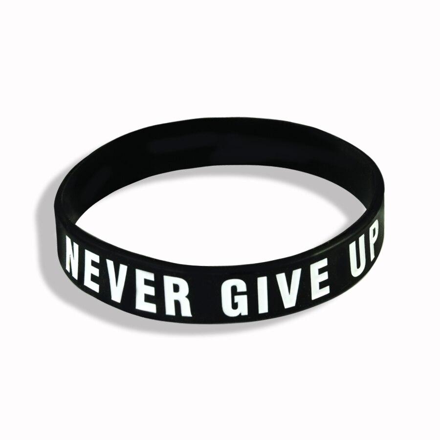 """Never Give Up"" Motivational Bracelet Inspirational Sports Rubber Band Elastic Inspirational Bracelets for Men Accessories 3"