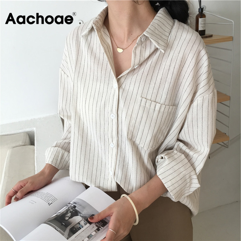 Aachoae Women Stripe Blouse Batwing Long Sleeve Loose Boyfriend Shirt Pocket Turn Down Collar Elegant Office Blouses Ropa Mujer