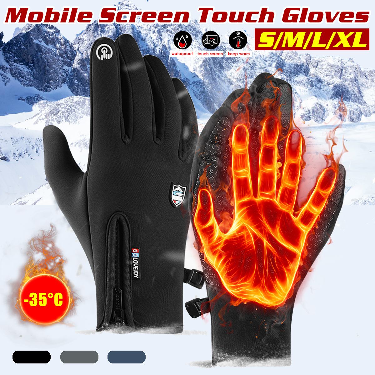 Ski Gloves Waterproof Fleece Thermal Gloves Snowboard Snowmobile Gloves Men Women Winter Gloves For Sonwboarding