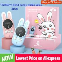 2 pçs walkie talkie das crianças mini brinquedos transceptor handheld 3km gama de rádio uhf cordão interfone walkie talkie presente do bebê