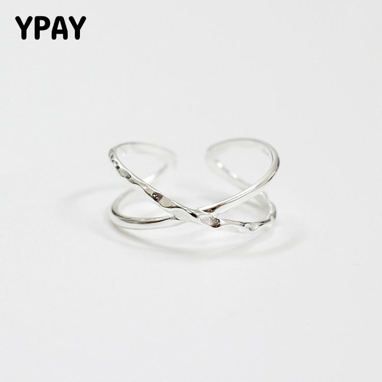 YPAY Real 925 Silver X Hollow Cross Open Ring Contracted Simple Adjustable Finger Rings Fine Jewelry For Women Girls YMR059