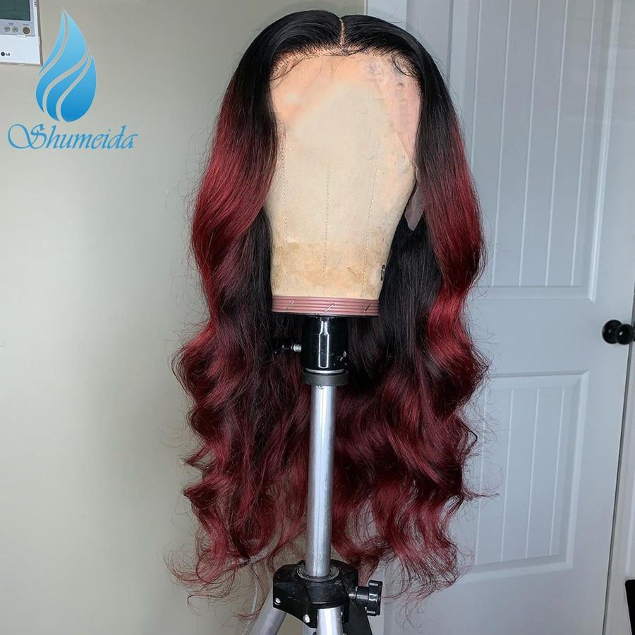 Омбре красный 13*6 SMD парик фронта шнурка 150% плотность волнистые бразильские Реми человеческие волосы парики с детскими волосами предварител...