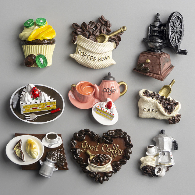 Nordic ins home decoration 3D food macarone coffee refrigerator paste magnetic Coffee cake kettle fridge magnet collection gifts 2
