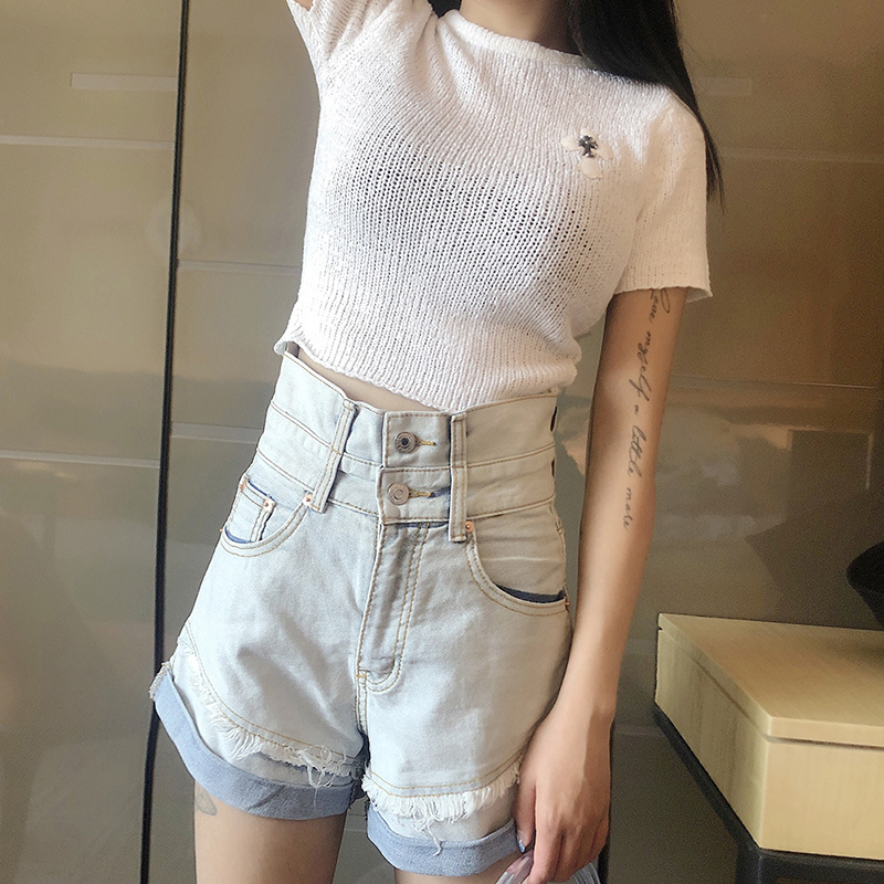 TWOTWINSTYLE Casual Tassel Denim Women Shorts High Waist Hit Color Loose Elegant Jeans Female Fashion Clothes 2020 Summer Tide