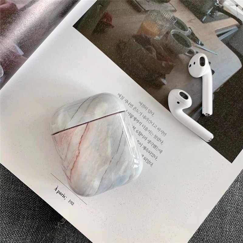 Luksusowe agat marmur twarde etui do Apple Airpods Case ochronna pokrywa bezprzewodowa Bluetooth etui na słuchawki ładowania Box Case torby