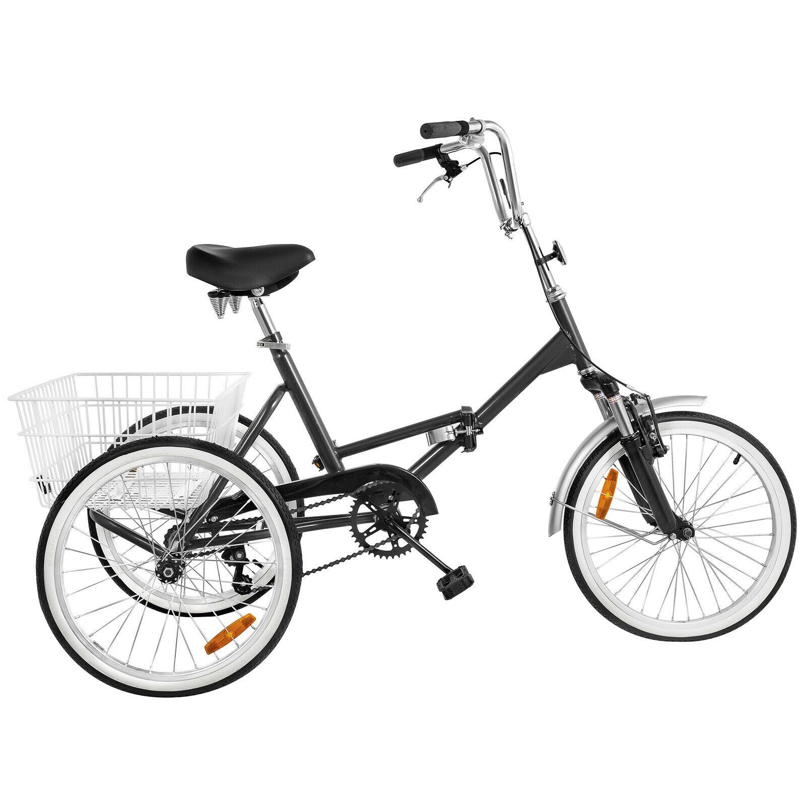 "Mantis Tri-Rad Adult Fold Tricycle Bike Bicycle Portable Tricycle 20/"" Wheels US"