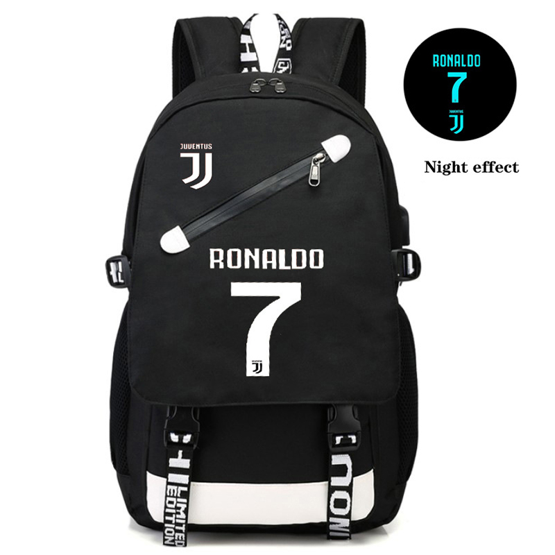 2020 Usb Luminous Ronaldo Backpack School Bags For Boys Teenage Football Back Pack Men Large Capacity Teen Bagpack College Style