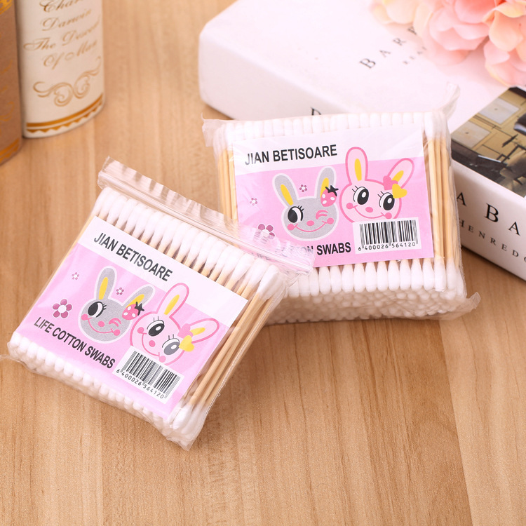 100Pcs Cute Double Head Cotton Swab Women Makeup Cotton Buds Tip For Medical Bamboo Sticks Nose Ears Cleaning Health Care Tools