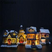 Bowarepro Clorful светодиодный мигающий резиновый Рождественский сцена деревенские дома орнамент город батарея работает рождественские подарки для детей