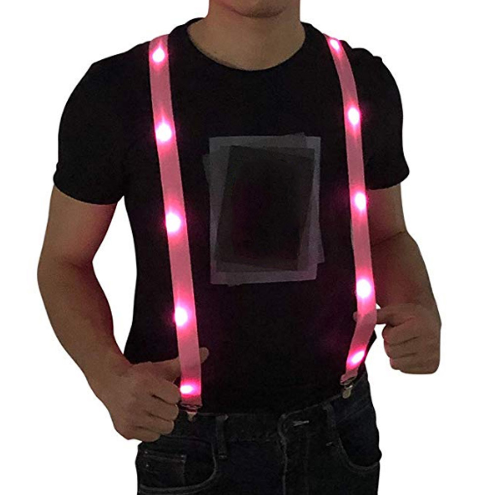 Newly LED Glow Light Up Suspenders Adjustable Elastic Outdoor Sports Warning Chest Strap DO99