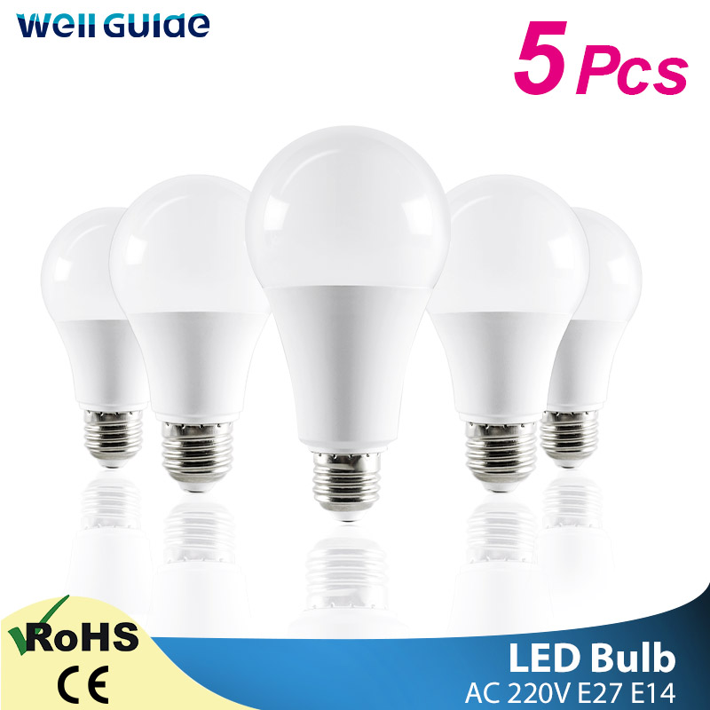 1/5PCS LED Bulb E14 E27 LED Lamps 3W 6W 9W 12W 15W 18W 20W AC 220V 240V Light White Lampara Aluminum Table Lamps Light Bombillas