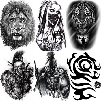 Africa Serengeti Lion Temporary Tattoo Indian Tribal Mighty Lion Warrior Waterproof Flash Tattoo Sticker Black Tatoo Men Women 1