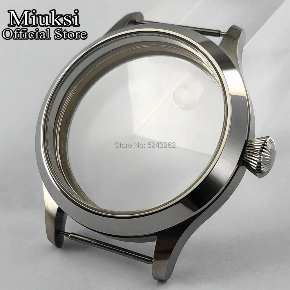 Case de Vidro de Safira Mecânico dos Homens Miuksi Inoxidável Ajuste 6497 – 6498 Movimento Topo Assista Case 45mm Aço