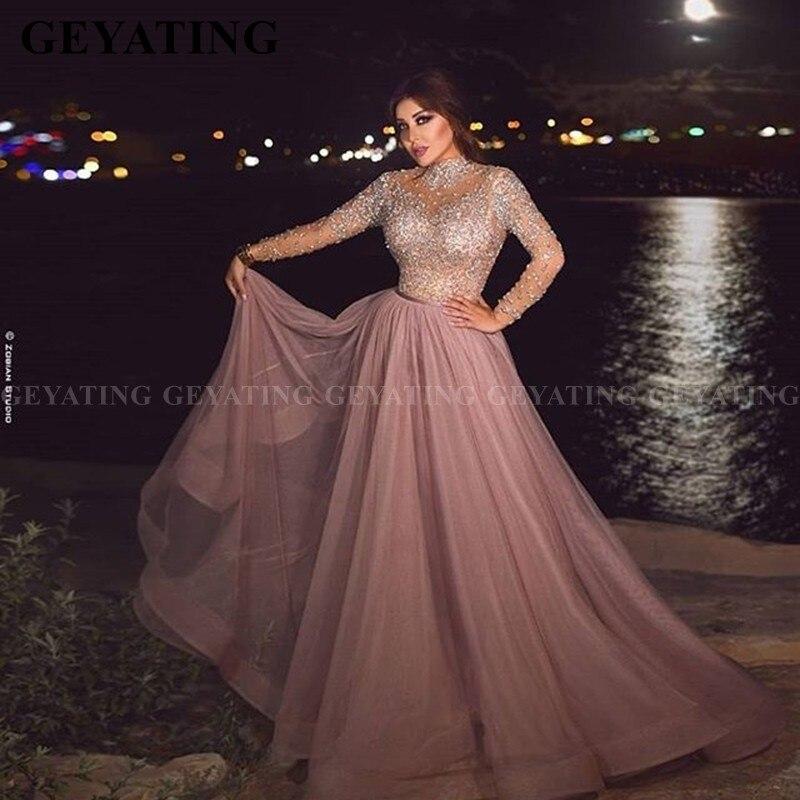Elegant High Neck Dusty Pink Muslim Evening Dress Long Sleeve Crystal Plus Size Arabic Formal Dresses For Women Dubai Prom Gowns