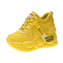 YeddaMavis Shoes Yellow Daddy Women Sneakers New Fashion 9CM Thick Bottom Lace Up Womens Woman Trainers