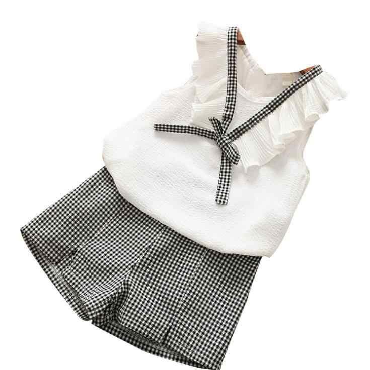 Mùa hè 2019 phụ nữ mới quần áo Cổ Chữ V nữ voan bé áo vest + nóng Quần thời trang 2 Tay áo quần phù hợp với