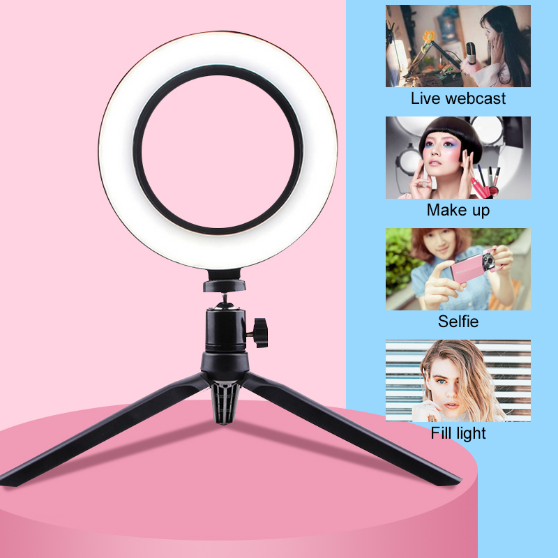cheapest 6 inch LED Desktop Ring Light Mini Dimmable With Tripod Stand USB Plug For YouTube Video Live Photo Photography Studio