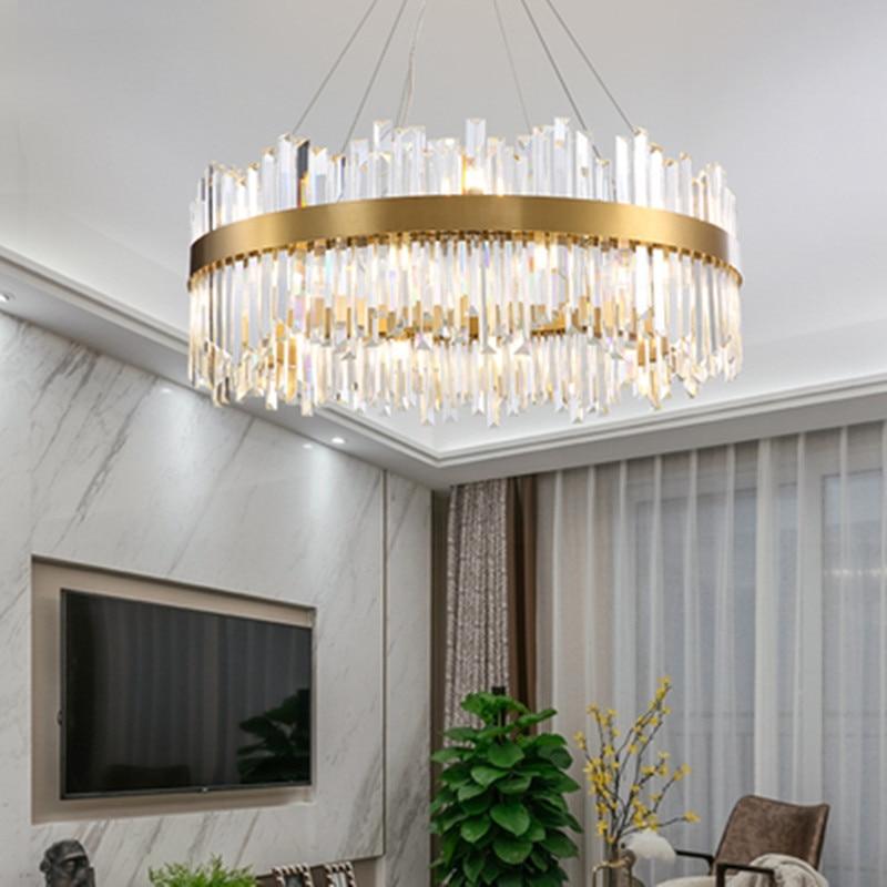 Light luxury crystal living room ...
