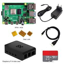 جهاز raspberry pi 4 kit من rasperry Pi 4 موديل B PI 4B 2GB/4GB: لوحة + بالوعة حرارية + محول طاقة + حافظة + 32/64/128GB SD + كابل HDMI