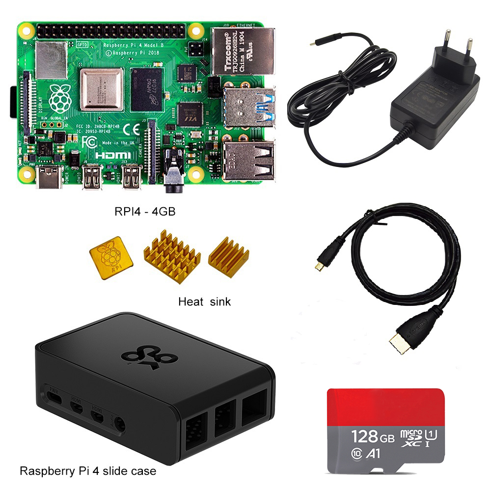 Official Raspberry Pi 4 Kit Raspberry Pi 4 Model B PI 4B 2GB/4GB : Board+Heat Sink+Power Adapter+Case +32/64/128GB SD+HDMI Cable