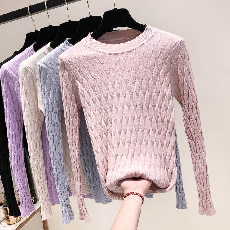 2019 New Fashion Women Knitted Tops Autumn Winter Pullovers Sweaters Casual Long Sleeve O-Neck Geometric Knitting Sweaters White