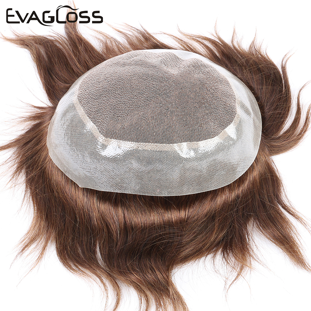 EVAGLOSS Men's Wig Human Hair Prosthesis Male Wig Lace PU Hair Pieces Unit Hair Replacement System Mens Toupee