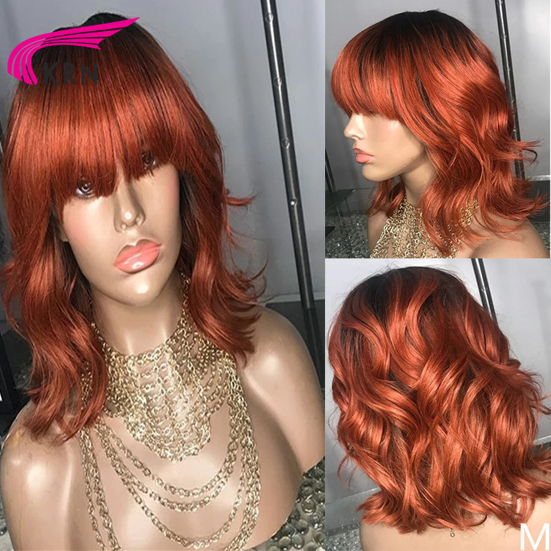 KRN Wavy Ombre 13X6 Lace Front Human Hair Wigs With Bangs Remy Hair Bleached Knots For Women